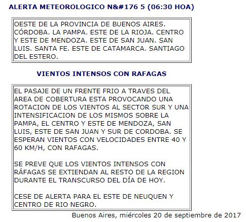 Con el viento, baja la temperatura en la provincia de Córdoba