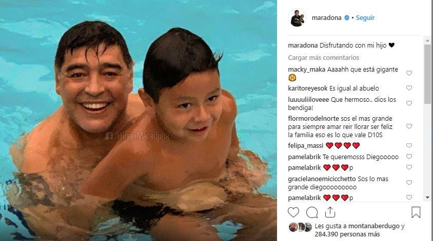 """rocío oliva-diego maradona-separación-comentario-""""like""""-polémica-pareja-diego fernando-instagram-diez-hijo-familia"""