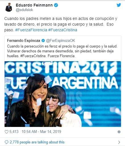 feinmann-mensaje-florencia-kirchner-cristina-twitter-cfk-foto-video