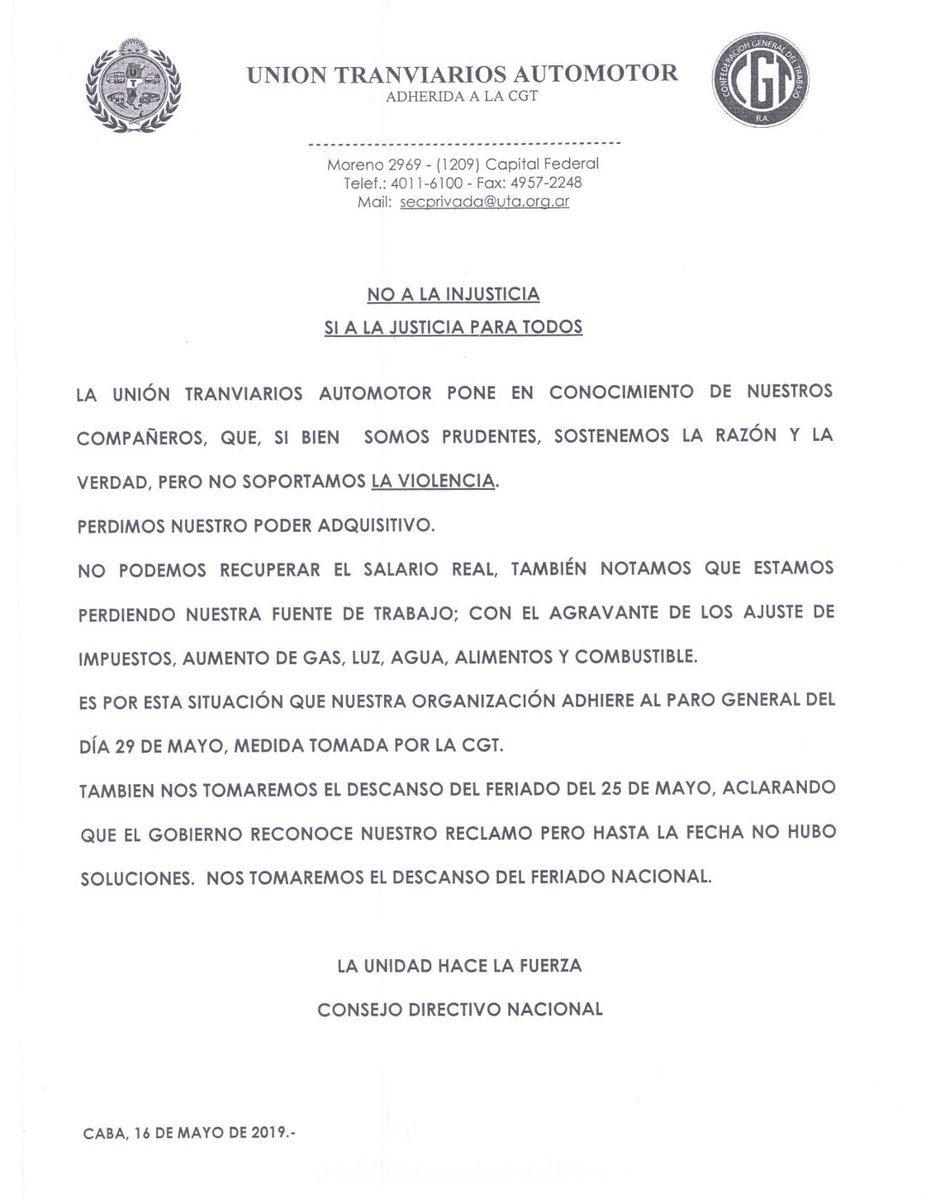 UTA-CGT- paro-25 de mayo-roberto fernández-Gobierno-mauricio macri-transporte-feriado-comunicado