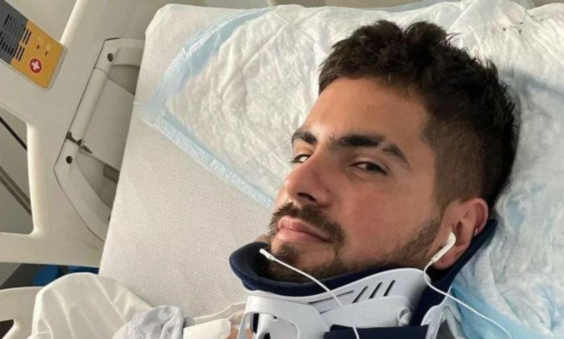 Las fotos del accidente que sufrió el cantante de Rombai