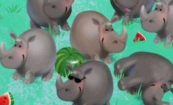 RETO VISUAL: encontrá al hipopótamo entre los rinocerontes